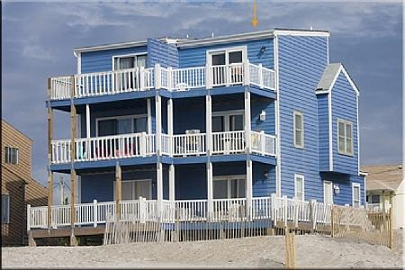 Ocean Side View of Blue House - Blue House, 2334-2 New River Inlet Rd, North Topsail Beach, NC, SAVE UP TO $190!!! - North Topsail Beach - rentals