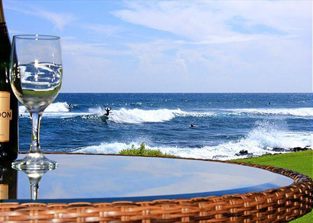 Surfbreak off the lanai at Kuhio Shores 119 - Oceanfront, corner unit, 2 floor-to-ceiling windows, 2 br/2 ba, Poipu sunsets - Poipu - rentals