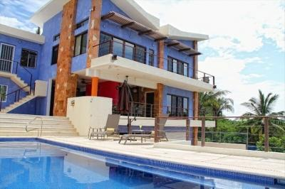 View of the second and third floors from the pool. - Stunning Modern Private Home, 30 Meters to Beach - Punta de Mita - rentals