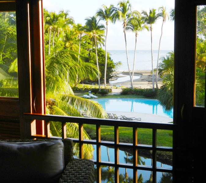 View onto the pool & beach 50 yards away - LUXURIOUS SPECTACULAR BEACHFRONT ROOFTOP PENTHOUSE - Las Terrenas - rentals