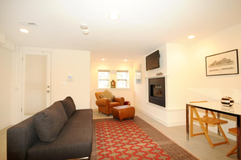 Open Space Plan: living room couch folds out to sleep two. - Premium Capitol Hill Apt with WiFi Near Museums! - District of Columbia - rentals