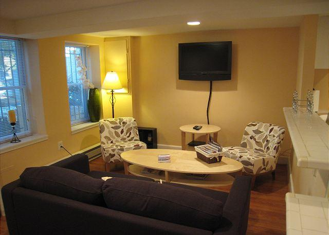 Livingroom with seating for 4 and wall mounted HDTV - 2 BR Apartment in DuPont Circle, two-block walk to Metro; Patio - Washington DC - rentals