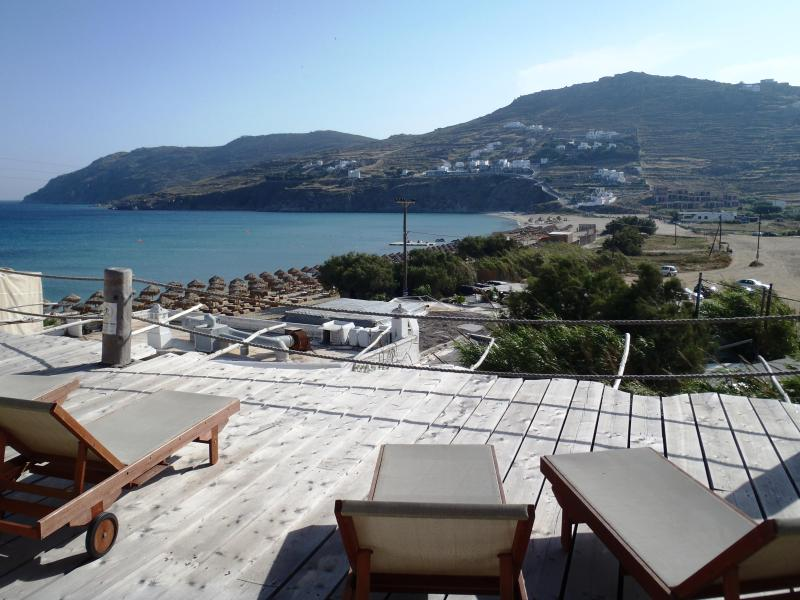 SEA VIEW AT THE BEACH OF KALO LIVADI FROM THE DECK IN FRONT OF THE STUDIOS - Studio For 1 Guest By The Beach With Sea View (For Single Use) - Mykonos - rentals