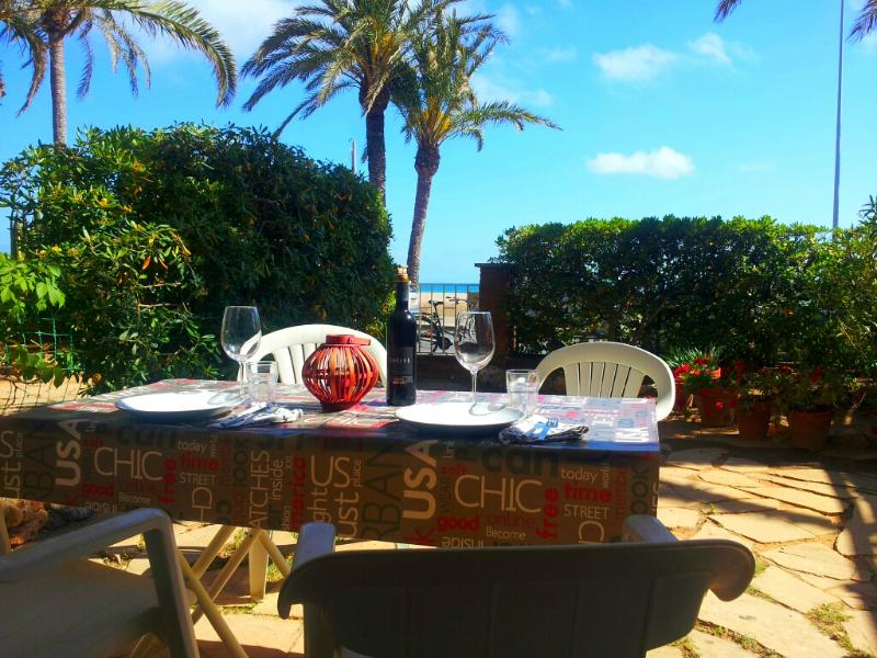 Garden and the perefct view - BeachFront aptartment with garden by Barcelona - Castelldefels - rentals