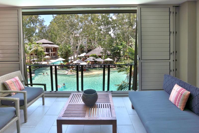 POOL VIEW FROM BALCONY - 205 SEA TEMPLE  PRIVATELY MANAGED APARTMENT - Palm Cove - rentals