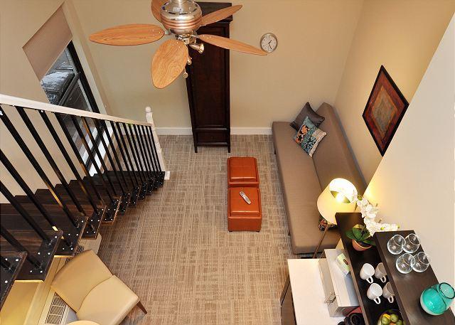 view from sleeping loft - DuPont Circle-Adams Morgan Loft Studio. Kitchenette, Parking, Metro 3 blks - Washington DC - rentals