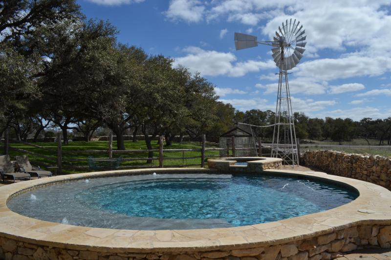 Our unique sparkling clear pool and hot tub. - Ranch on Guadalupe River - Tubing,  Pool/Hot Tub - Boerne - rentals