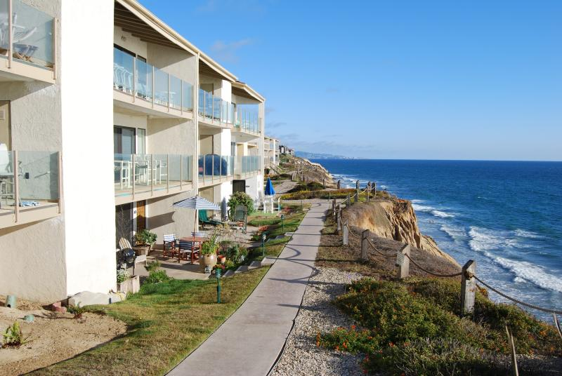 View from complex front, has sitting area - Solana Beach Town house on Ocean Front Complex - Solana Beach - rentals