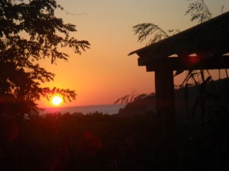 Sunset from the deck of the Surf Lodge at Rancho Cecilia - Casita del Bosque, at Eco Rancho Cecilia - San Juan del Sur - rentals