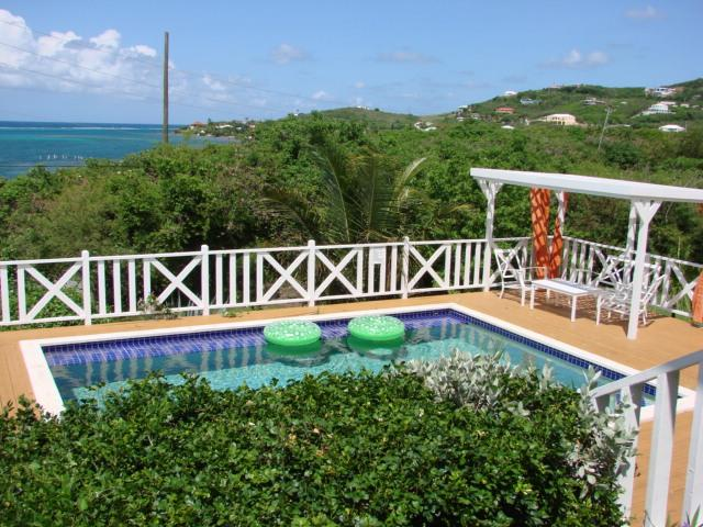 Very from Porch over pool to Ocean - Nirvana St Croix Virgin Islands No Passport Needed - Christiansted - rentals