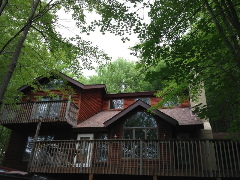 Front of home - Summer - Beautiful home, nestled in trees, walk to beach - Lake Ariel - rentals
