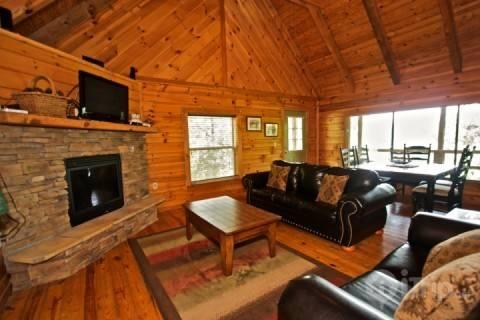 LIving Room / Dining Area - Townsend Cabin #4, Rich Mountain View - Townsend - rentals