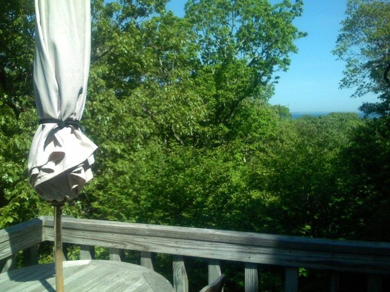 Tranquil setting with water views through the trees on middle deck - Aquinnah - Vineyard Up-Island Spot - Waterviews - Gay Head - rentals