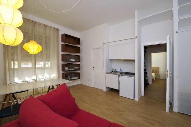 Table, Sofa bed, Cupboard, Kitchenette - Via da Cortona Piazza del Popolo downtown wifi - Rome - rentals