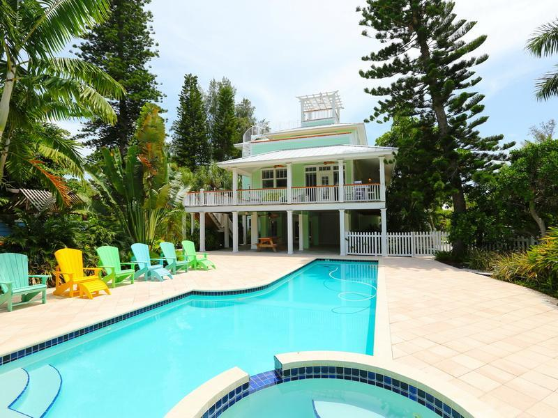 Looking up to the house from the pool - Cherryfish, a spectacular spacious 4-bed home! - Anna Maria - rentals