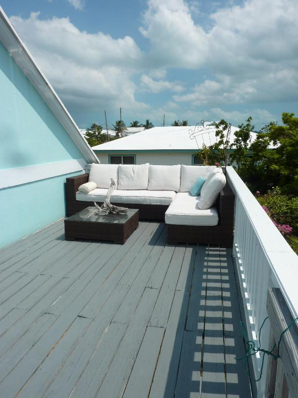 Private upstairs deck with barbecue - Secluded,safe Bahamas retreat, miles of pink sand - Spanish Wells - rentals
