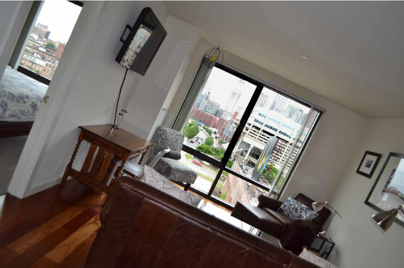 Living room with view of downtown and the Norht End - Leather Seating - Queen Sleep Sofa - Canal Street Luxury West End / North End + Views - Boston - rentals