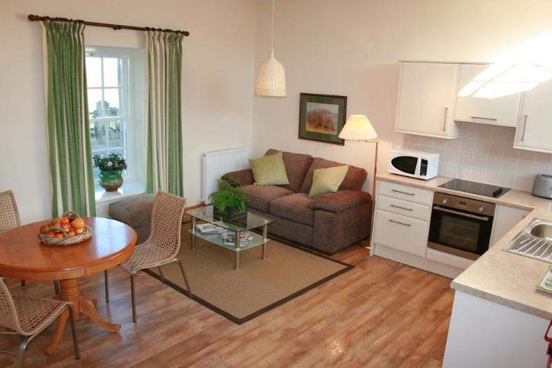 Open-plan living area with sofa bed - Rowan at Finnich Cottages - Scotland - rentals