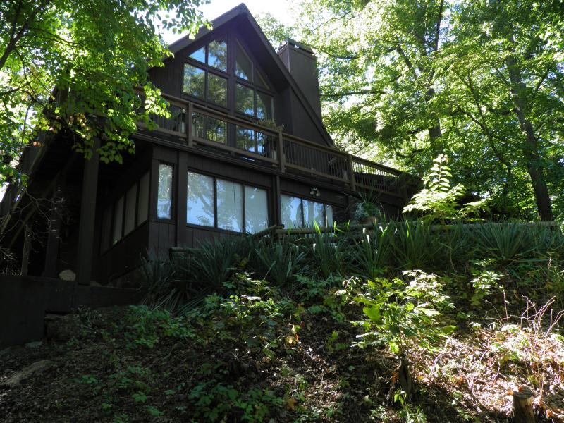 Lake side of house as viewed from the woods. - Hot Tub Suite with full Family Room - Osage Beach - rentals