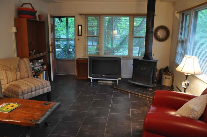 Living Room- Large windows, tile floor, fireplace and comy furniture. - Cozy Creek Side Cabin - Boone - Boone - rentals
