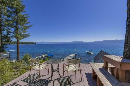 mid level deck in front of the log cabin - McNary - Meeks Bay - rentals