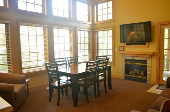 Spacious Living Room With Fireplace, Flat Screen TV, Sofa Sleeper, and Lots of Natural Light - Recently Remodeled 3BR Condo In Disciples Village, Sleeps 12 Comfortably - Boyne Falls - rentals