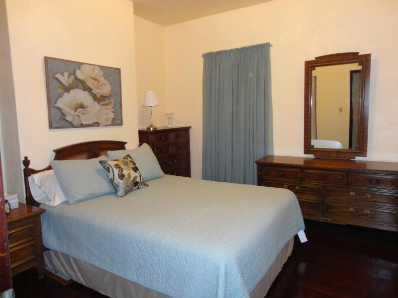 Bedroom 1 features soothing shades of blue, a comfortable Queen bed, & vintage solid wood furniture. - 2 BR Apt, 2 miles to CMU, 5 miles to Downtown - Pittsburgh - rentals