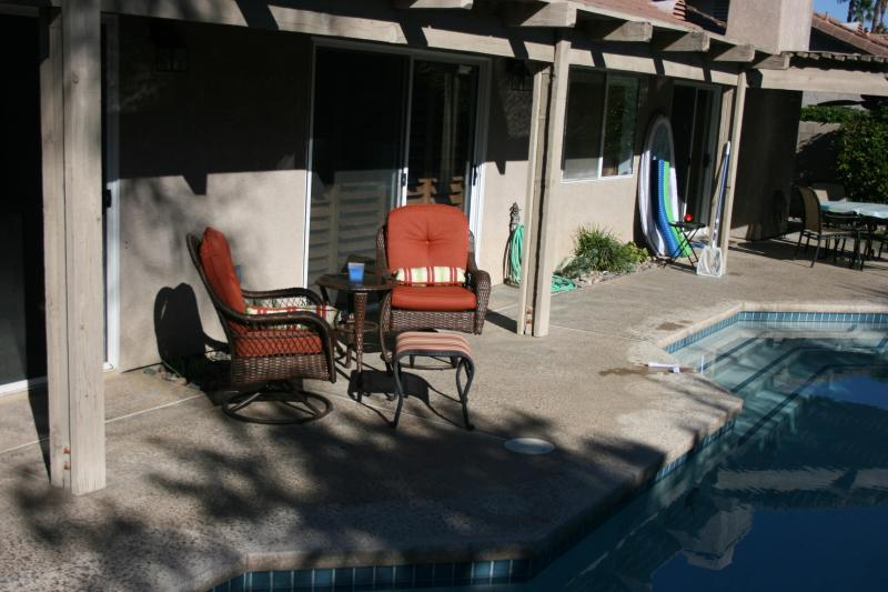 Pool area from behind spa - Palm Desert Private 3-Br Home with Pool and Spa - Palm Desert - rentals