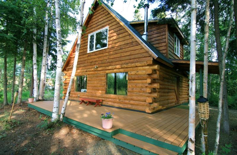 Cabin view from streamside - Private, Waterfront Cabin with Aurora & Wildlife - North Pole - rentals