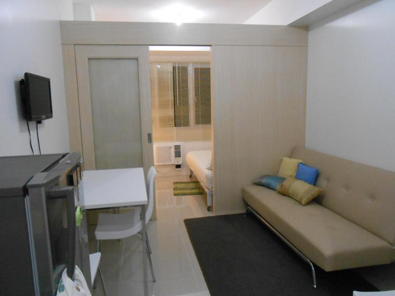 Overview of the unit with sofa bed - New Fully Furnished Condo for Rent at Sea Residences MOA - Philippines - rentals