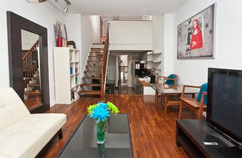 View of the living area and the kitchen - Sunny & spacious two-level studio near UN-sleeps 4 - New York City - rentals