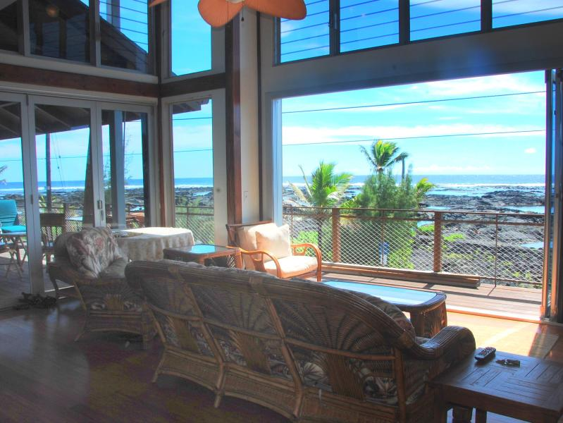 Living Room View through bi fold doors - Kapoho Sunrise Hale - Pahoa - rentals
