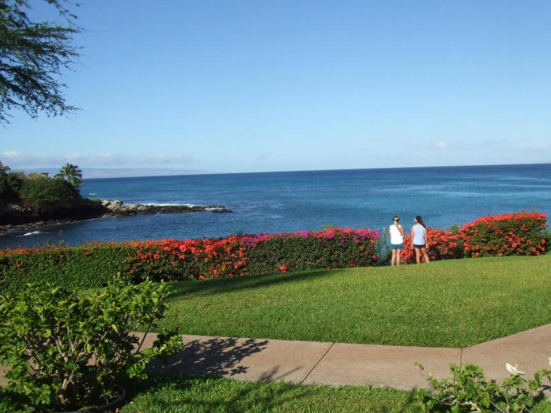 This is the stunning view from your lanai!!  My daughters. - Stunning Oceanfront Condo!! - Lahaina - rentals