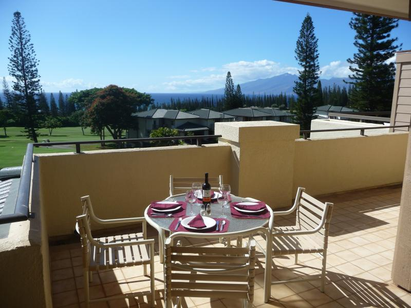 Lanai dining with a beautiful ocean and golf course views. - GREAT CONDO WITH A OCEAN VIEW AT GREAT PRICING! - Kapalua - rentals