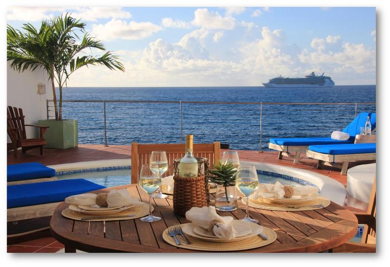 The Terrace and Private Pool at Villa Velaire - Villa Velaire, Oceanfront Villa with Private Pool - Simpson Bay - rentals