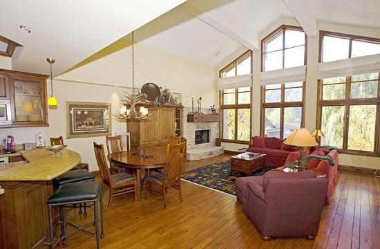 The Great Room has floor-to-ceiling windows with a view of downtown Ketchum  Baldy - Colonnade Residence #14- Deluxe Apartment in the Heart of Ketchum with air conditioning in great room; - Ketchum - rentals