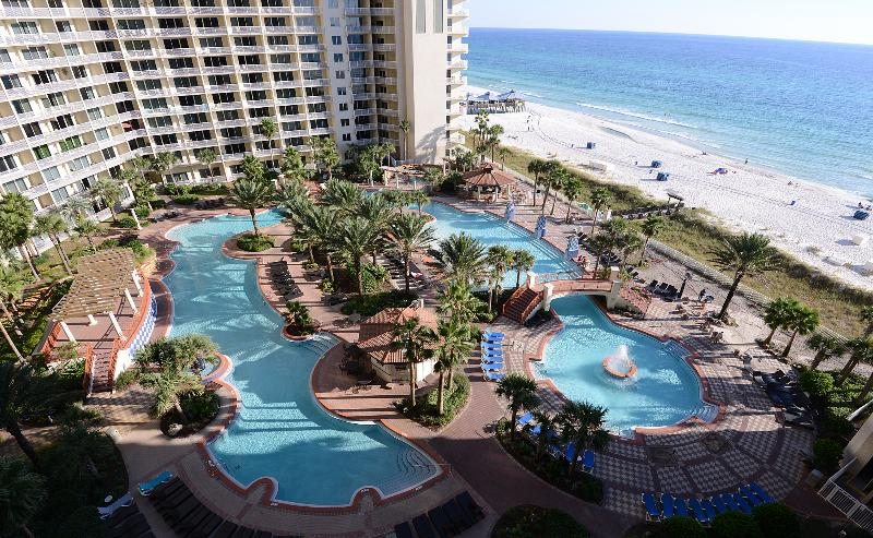 Resort Pool and actual view from balcony - Beautiful View. Sleeps 6.  Enjoy & Relax. - Panama City Beach - rentals