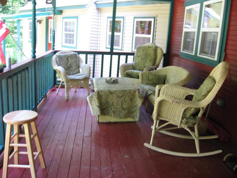 Farmers Porch, Wicker Furniture and gas grill, also have two pic nic tables at fire pit. - Clean Cozy house awaiting for you and ? 125.00 p/n - Strong - rentals