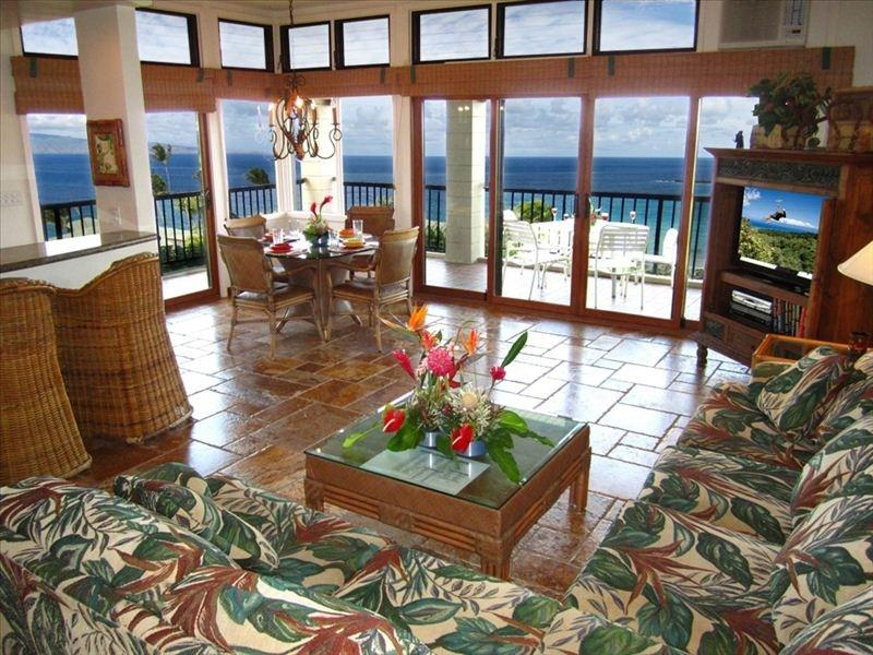 Living room - Forever Ocean Views at Kapalua. Best deal on Maui - Kapalua - rentals