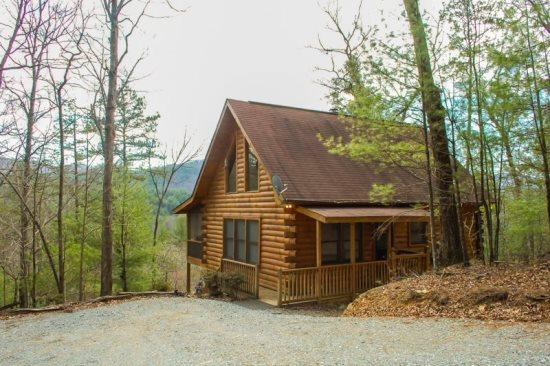 OUTSIDE FRONT OF THE CABIN - 3 BEARS LODGE- 2BR/1.5BA-BEAUTIFUL MOUNTAIN VIEW, GAS LOG FIREPLACE, HOT TUB ON SCREENED PORCH, GAS GRILL, AND A FOOSBALL TABLE! ONLY $99 A NIGHT! - Blue Ridge - rentals
