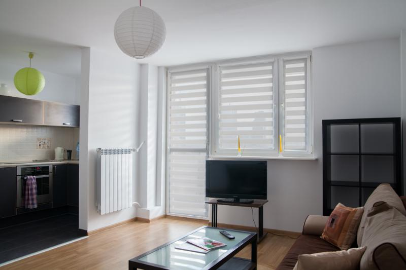 Living room with kitchen area - Sunny 3-room-ap with great view in Warsaw Center - Warsaw - rentals