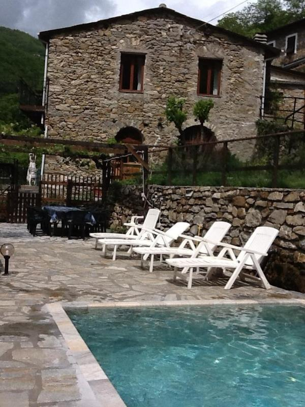 Mill house from pool - large River-side stone mill with swimming pool - Badalucco - rentals