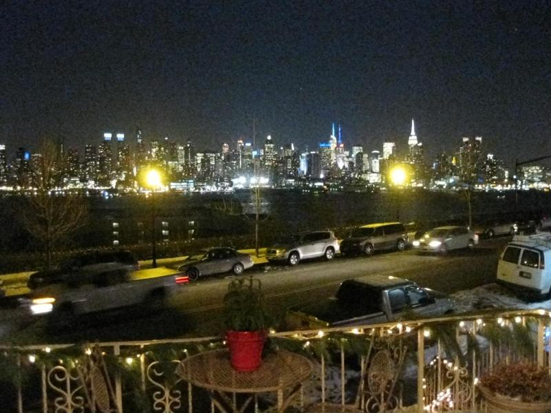 NYC PORCH VIEW/NIGHT TIME - Direct NYC View Apartment with Day Spa On Site - West New York - rentals