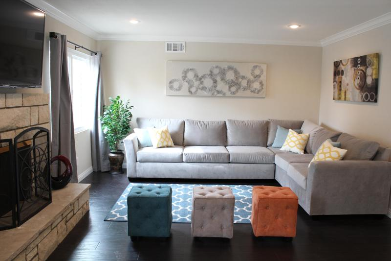 Open space living room with 60