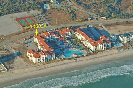 Aerial view showing location of Unit 205A - Villa Capriani 205A - North Topsail Beach - rentals
