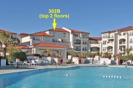 Ocean/courtyard side of unit 302B - Villa Capriani 302 B - North Topsail Beach - rentals