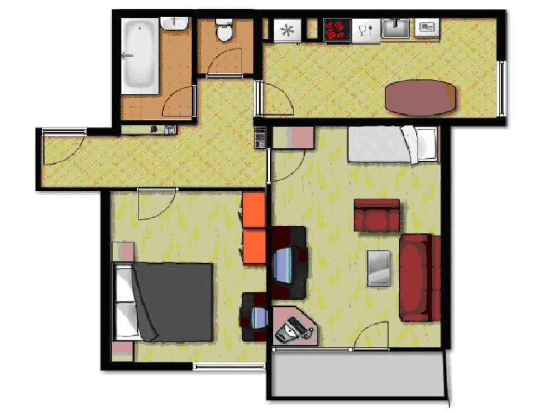 Floor plan of the apartment for rent (2 rooms plus big kitchen with dining table) - Annette in Center - only 300 m from Dragon Bridge - Ljubljana - rentals