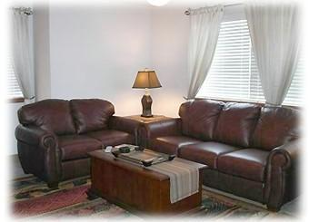 Family Room with Leather Sofa Sleeper - Summer Luxury Frisco Main St  1BR1BA FP W/D Carpor - Frisco - rentals