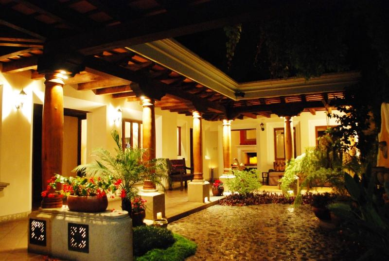 Interior Courtyard at night - Gorgeous Centrally Located 3BD, 2BA Colonial Home - Antigua Guatemala - rentals