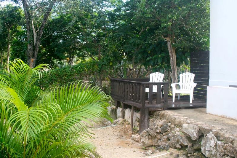 Private Deck from 1 Bedroom Apartment - New AKUMAL King Jungle Apt w KITCHEN, AIRCO & WIFI - Akumal - rentals
